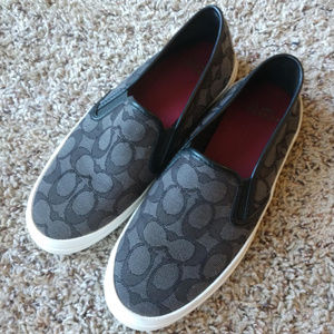 COACH Chrissy Slip On Sneakers black grey canvas